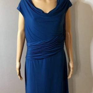 Adrianna Papell Womens Dress Blue Ruched Waist Cow